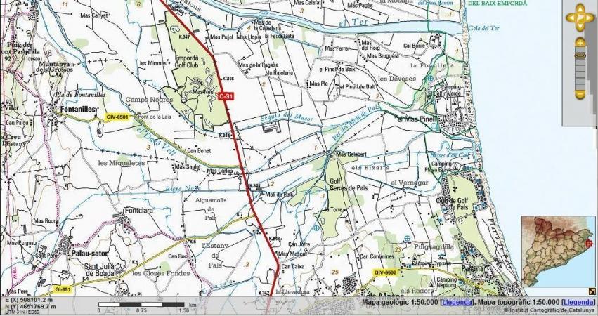 Mapa topogràfic de Pals